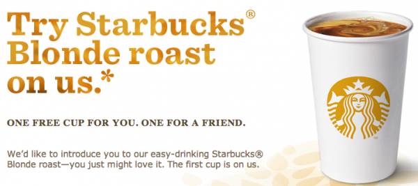 Free Blonde Roast from Starbucks