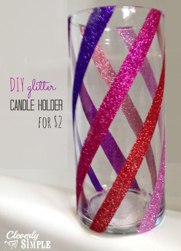 DIY Glitter Candle Holder for $2