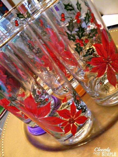 Glasses on Christmas Centerpiece