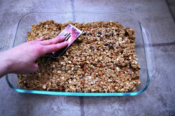 Pressing The Granola Bar Recipe Into Pan