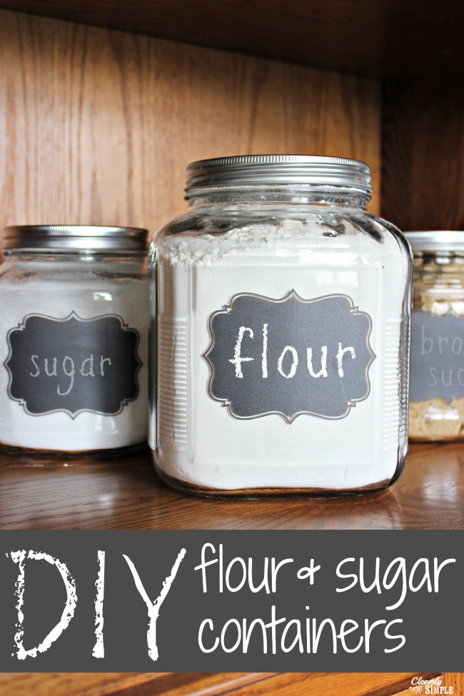 diy flour and sugar storage containers with chalkboard label