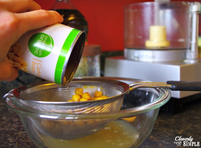 drain garbanzo beans before making hummus