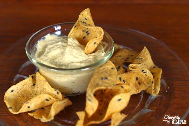 homemade hummus enjoyed with chips