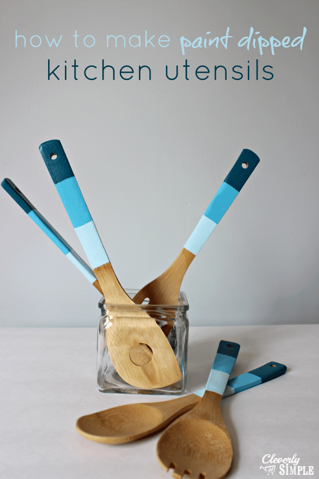 how to make paint dipped kitchen utensils