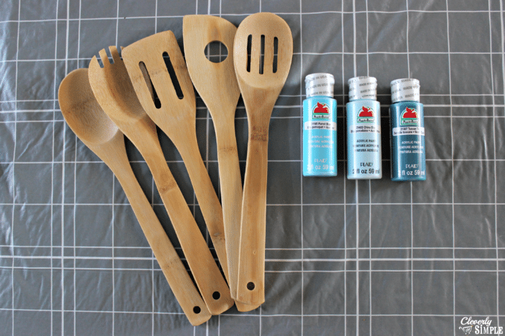what you need to make paint dipped kitchen utensils