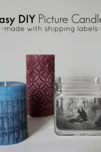 DIY Picture Candle Holders (Made with shipping labels.)