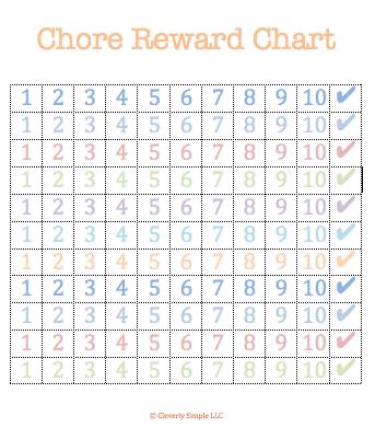 free chore chart rewards printable