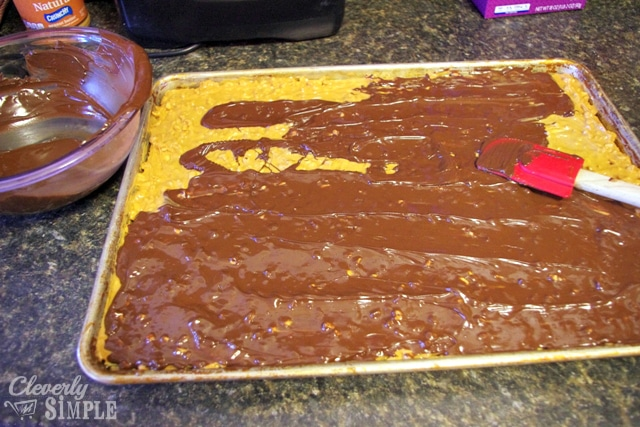 Top chocolate layer in homemade candy bars