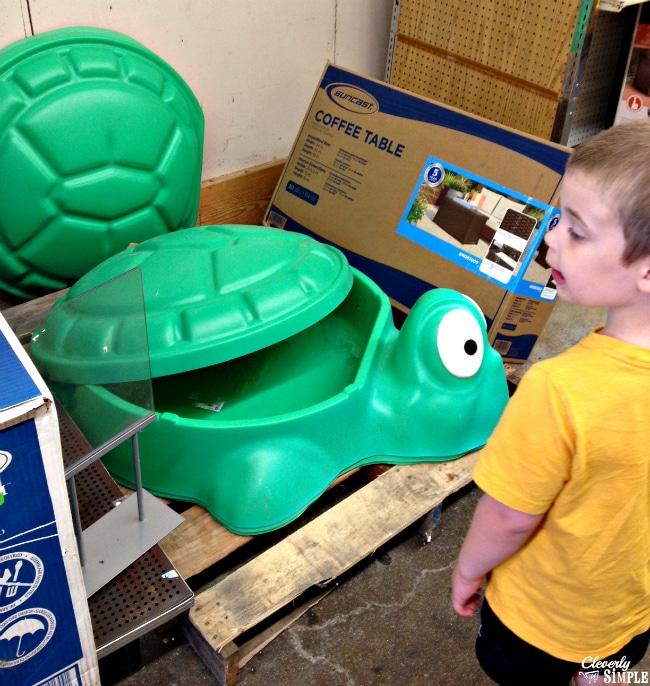 buying a turtle sandbox at Kmart #ad