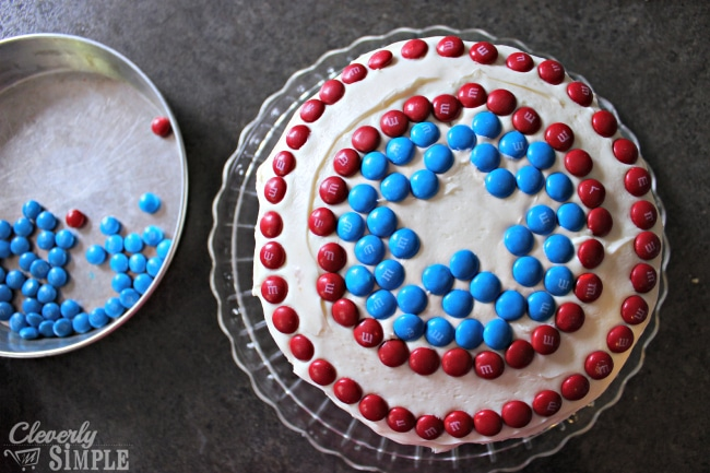 Captain America Cake with MMs