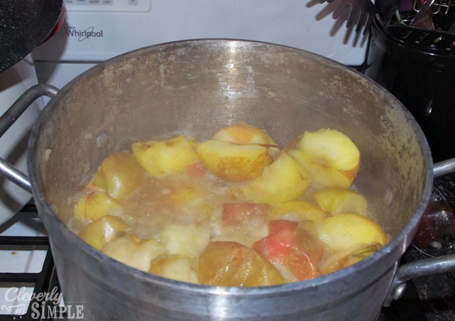Boiling the apples down to make applesauce
