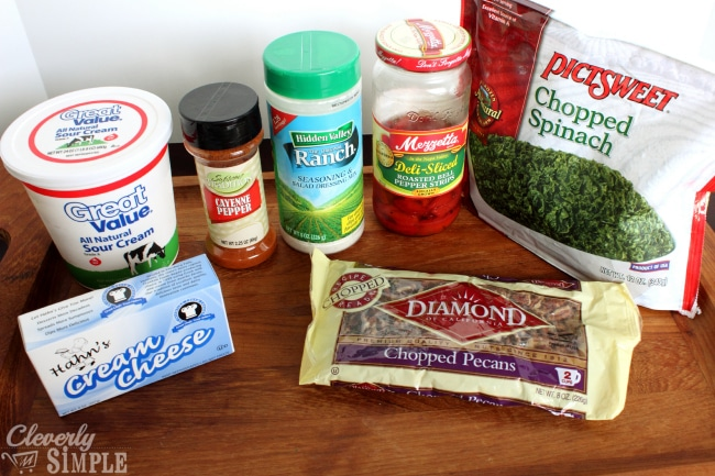 Ingredients for Homemade Pecan Spinach Dip