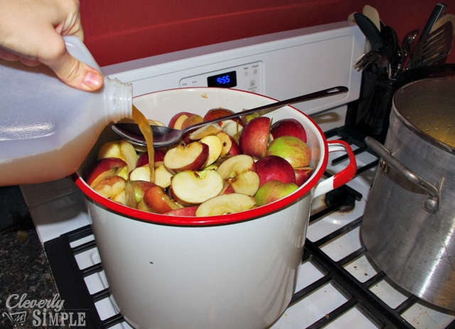 Making applesauce on the stove