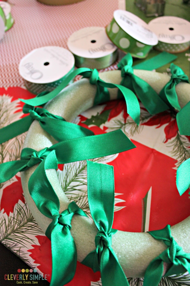 How to space out the ribbon for a ribbon wreath