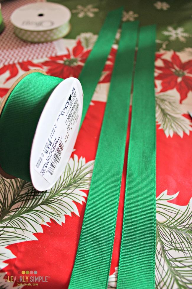Measuring ribbon to make a ribbon wreath