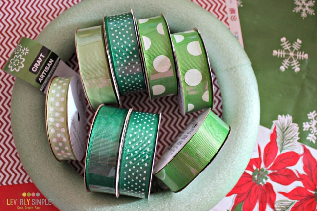 Ribbon to make a homemade ribbon wreath