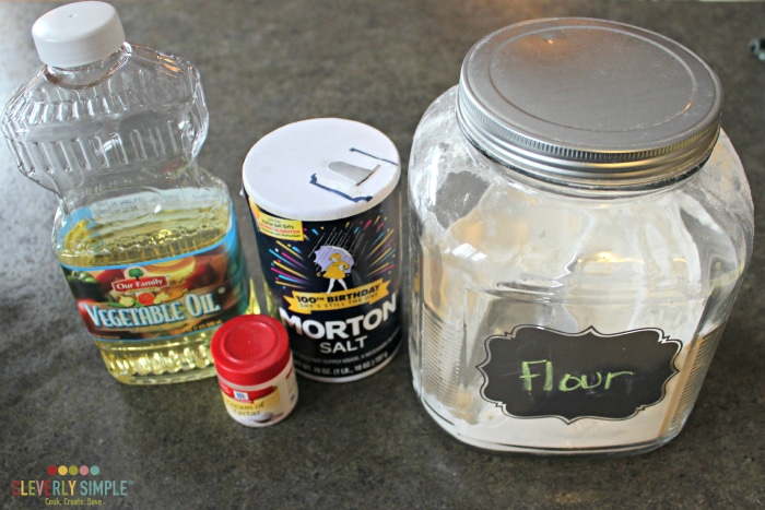 Ingredients for DIY easy playdough