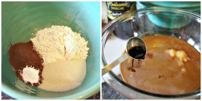 Adding ingredients to chocolate cake
