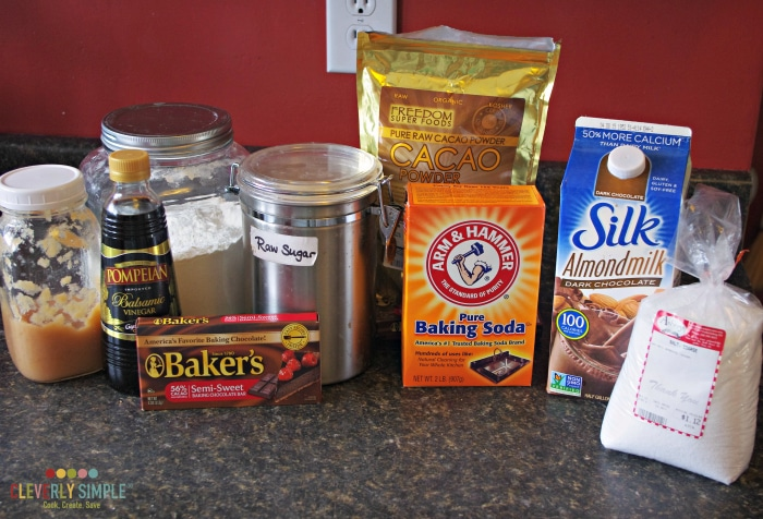 Ingredients for quick and simple chocolate cake