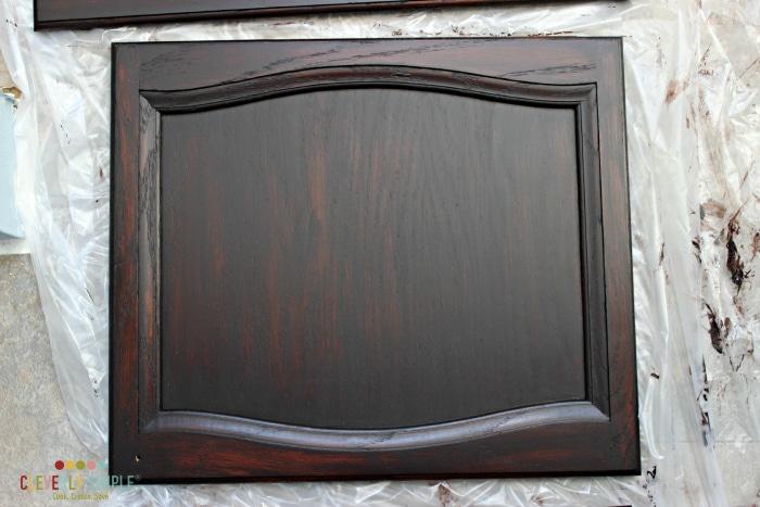 after third coat of gel stain on door