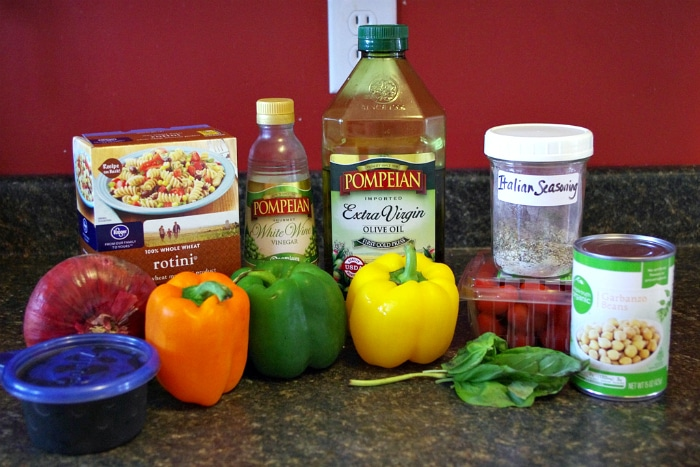 Ingredients for quick and simple pasta salad