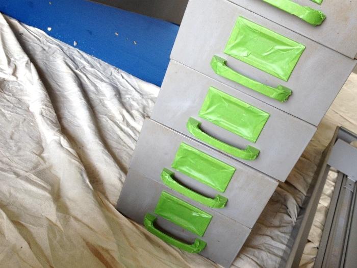 frog tape on drawer knobs