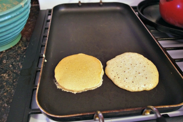 pancakes on the griddle