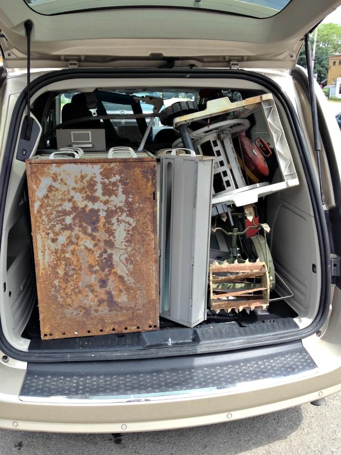 van full of garage sale finds