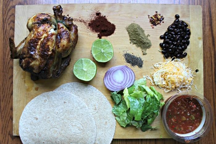 Ingredients for black bean chicken burrito
