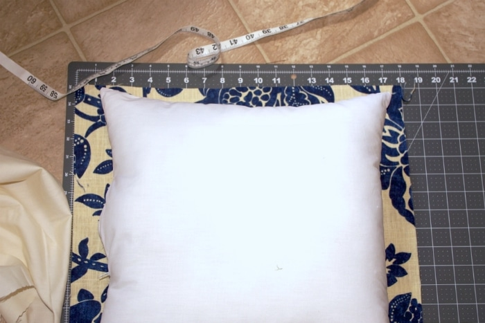 Measuring a pillow for a pillowcase