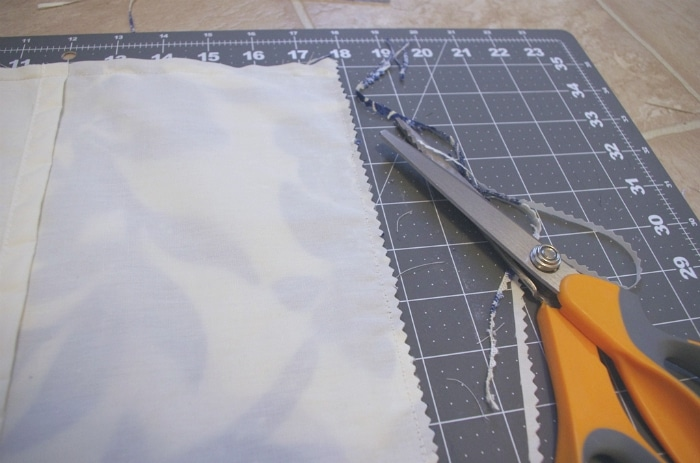cutting edges of pillow