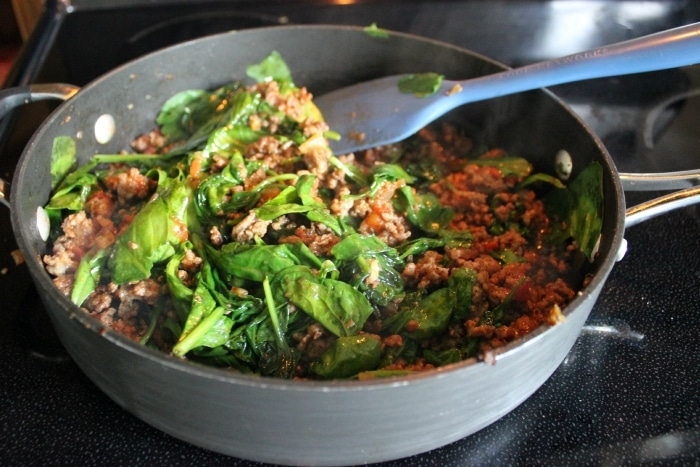 spinach and meat mixture