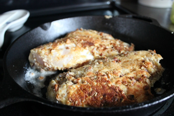 Browning pecan and progresso bread crumb chiken
