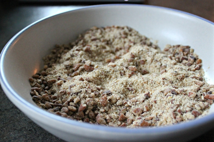 Progresso bread crumbs and pecans to make Bourbon Pecan Chicken