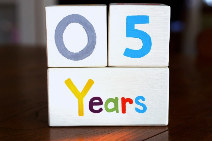 Years counter for baby blocks