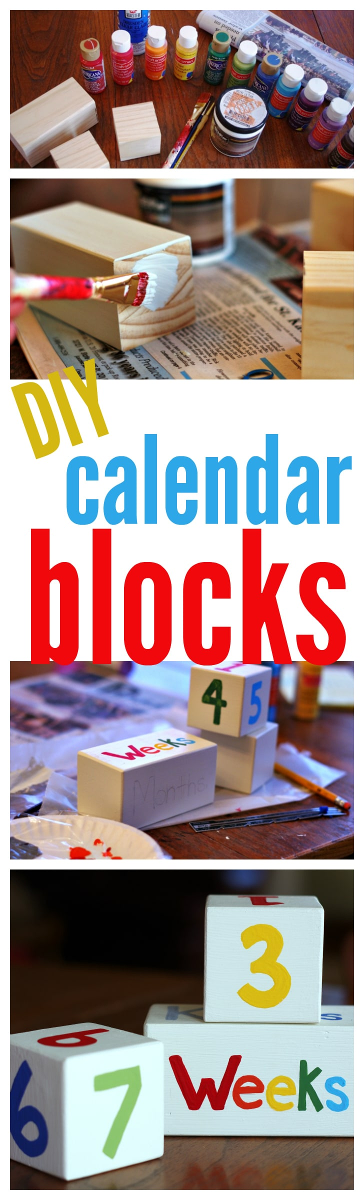 Calendar Blocks Diy : Baby wood block calendar cleverly simple