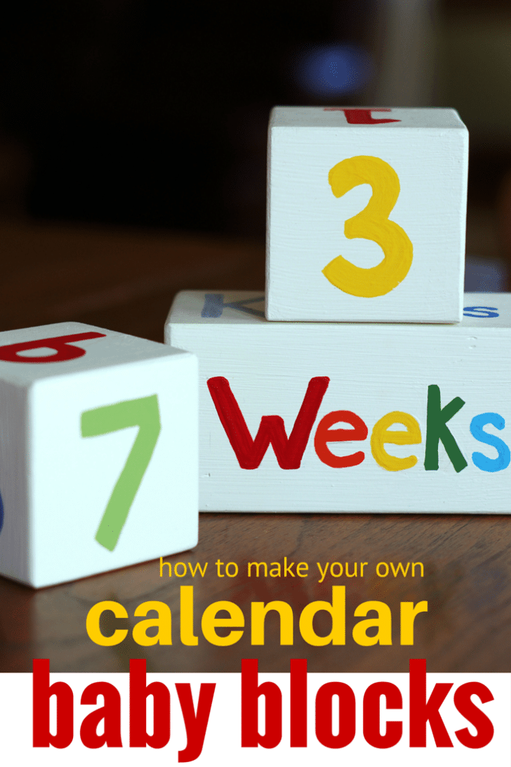 how to make your own months weeks kisses baby blocks for baby shower. Wood Block Calendar