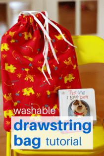 Easy Washable Drawstring Bag Tutorial