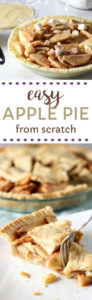 Easy apple pie recipe made with cinnamon and homemade pie crust.