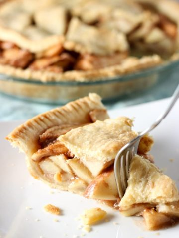 apple pie with fork on plate