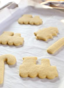 baked sugar cookies on baking sheet