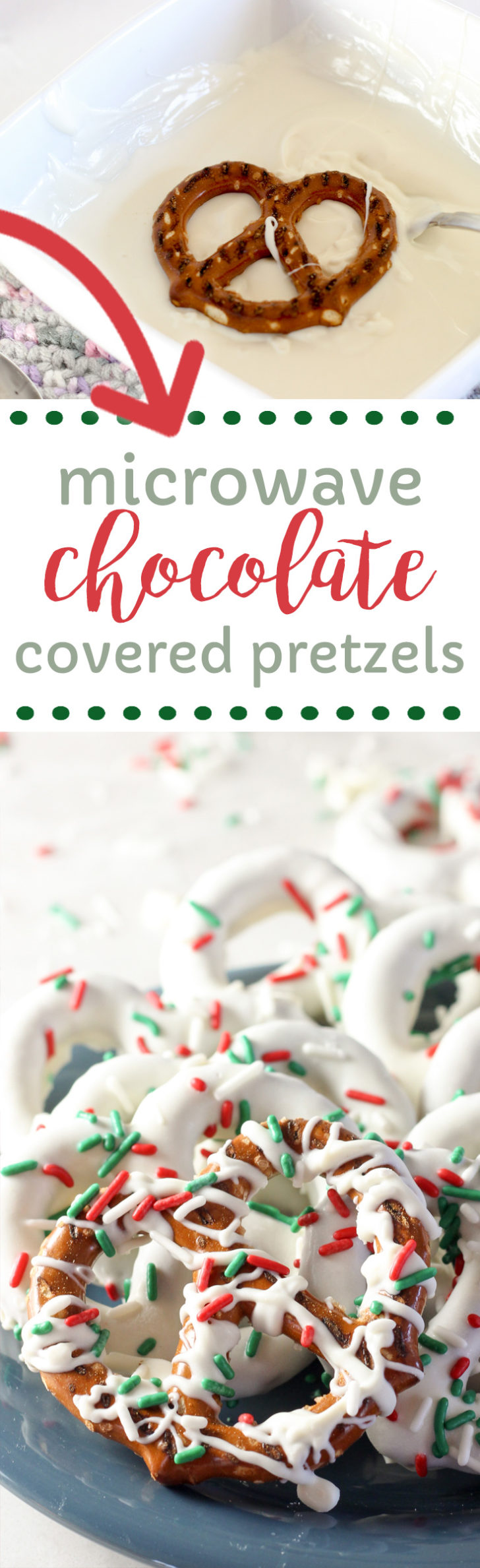 Make chocolate covered pretzels by melting the chocolate in the microwave.