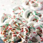 Plate of chocolate covered pretzels with white chocolate