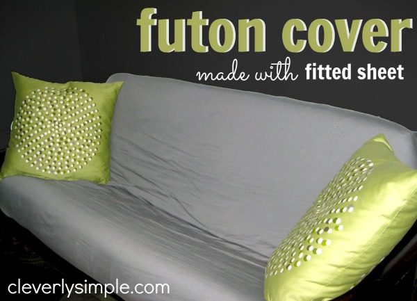 DIY futon cover using fitted sheet