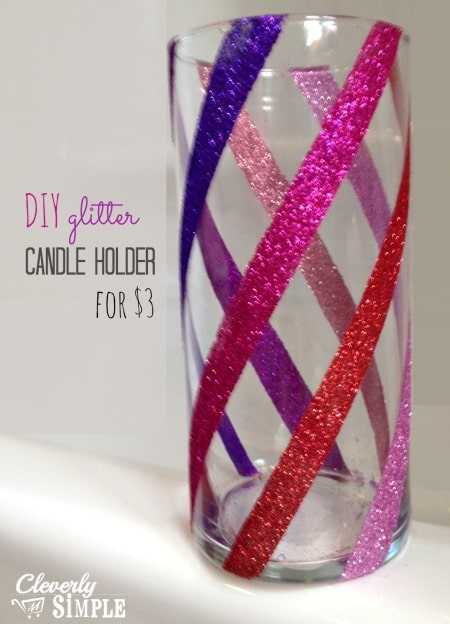 DIY Candle Holder with Glitter Frugal