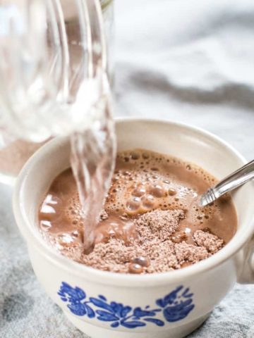 hot water in homemade hot chocolate