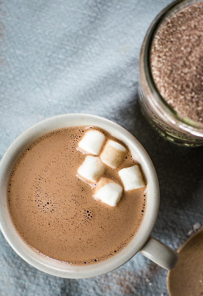creamy homemade hot chocolate mix in mug