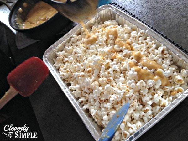 Pouring Caramel on Caramel Popcorn