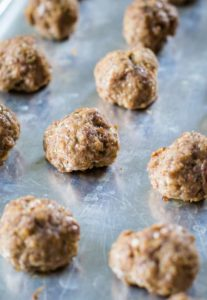 easy meatballs on baking sheet