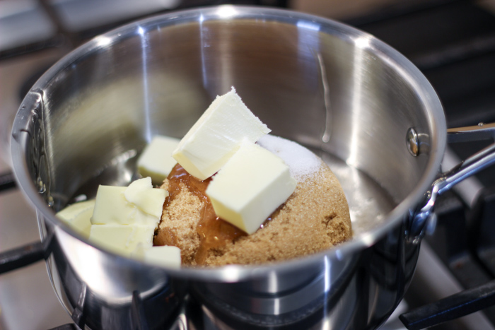 brown sugar, butter and other ingredients in pan